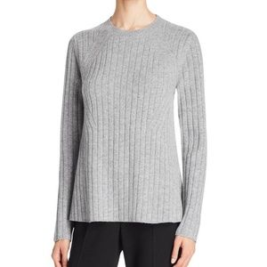 Theory Gray Wool Cashmere Ribbed Badina Sweater